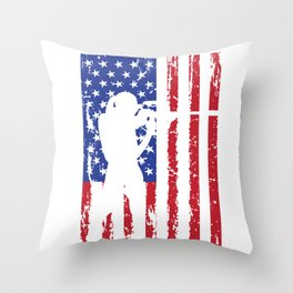 Biathlon Racing US Flag design Skiing Rifle Shooting Race Throw Pillow