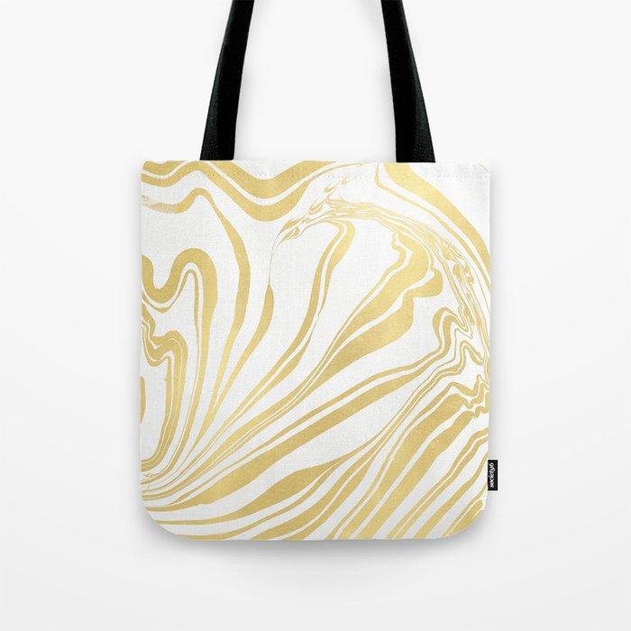 Bronze Copper Gold Rush Marble Ink Swirl Tote Bag