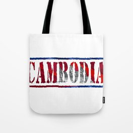 Cambodia Font with Cambodian Flag Tote Bag