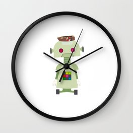 Giant green robot with a boat hat Wall Clock