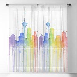 Seattle Skyline Rainbow Watercolor Sheer Curtain