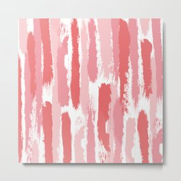 Brushstrokes Stripes Pattern - Pink, Rose, Coral, Peach Metal Print