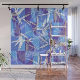 Bamboo in Blue Geometric Pattern Wall Mural