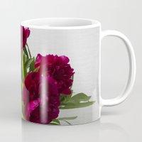 peonies Mugs featuring Peonies by Arina Lourie