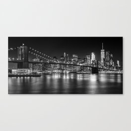 MANHATTAN SKYLINE & BROOKLYN BRIDGE Nightly Impressions | Panoramic Monochrome Canvas Print