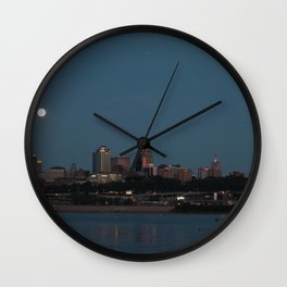 Full Moon Over the River Wall Clock