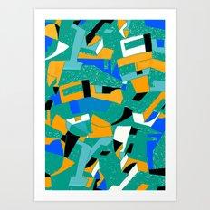 architettura in blu e verde Art Print