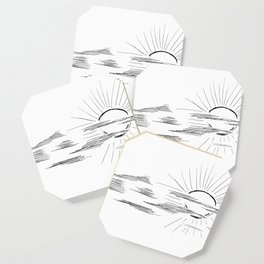 Graphic drawing. The sun in clouds. Coaster