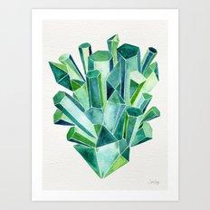 Emerald Watercolor Art Print