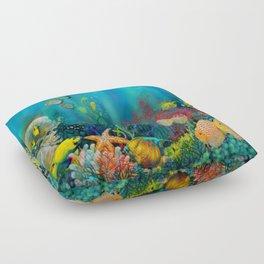 Undersea Art With Coral Floor Pillow