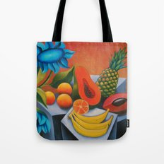 Cuban fruits with blue flowers Tote Bag