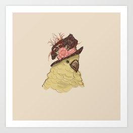 Bird in Hat 2 (Cockatoo) Art Print