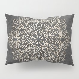 Mandala White Gold on Dark Gray Pillow Sham