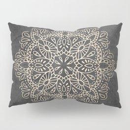 Mandala White Gold on Dark Gray Pillow Sham