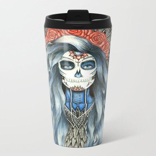 Full Page Day of the Dead Woman Mandala Metal Travel Mug