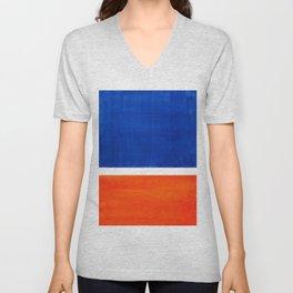 Colorful Bright Minimalist Rothko Orange And Blue Midcentury Modern Art Vintage Pop Art Unisex V-Neck