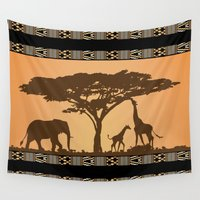 african Wall Tapestries featuring African Silhouette by Robin Curtiss