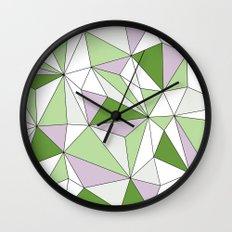 Geo - green, gray and white. Wall Clock