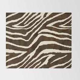 Animal Print Zebra in Winter Brown and Beige Throw Blanket