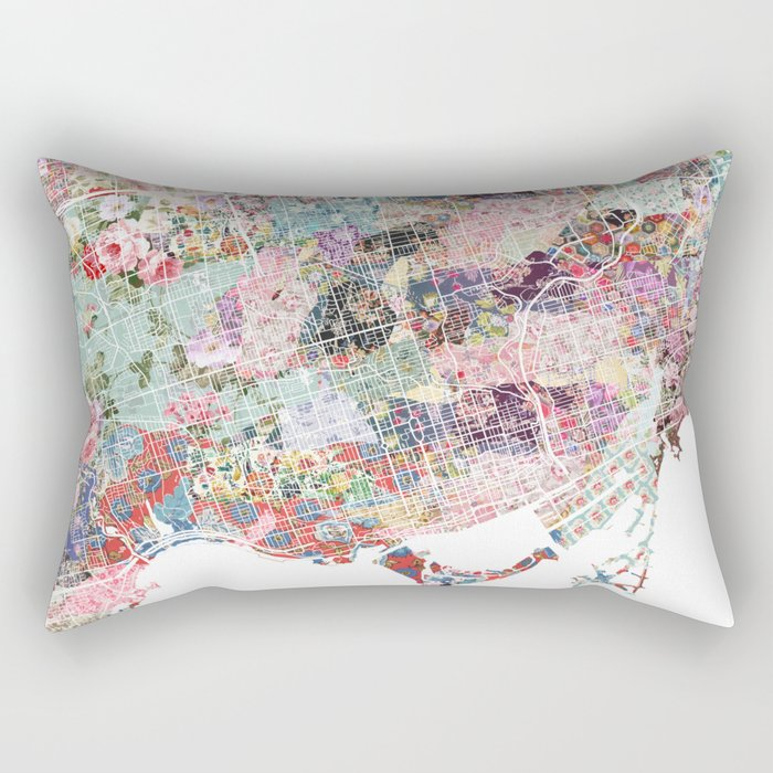Toronto map flowers Rectangular Pillow