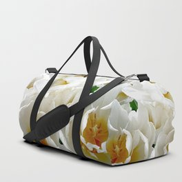White tulips with afterglow centers Duffle Bag