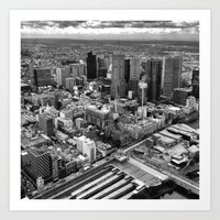 melbourne Art Prints featuring Melbourne by kazmcart