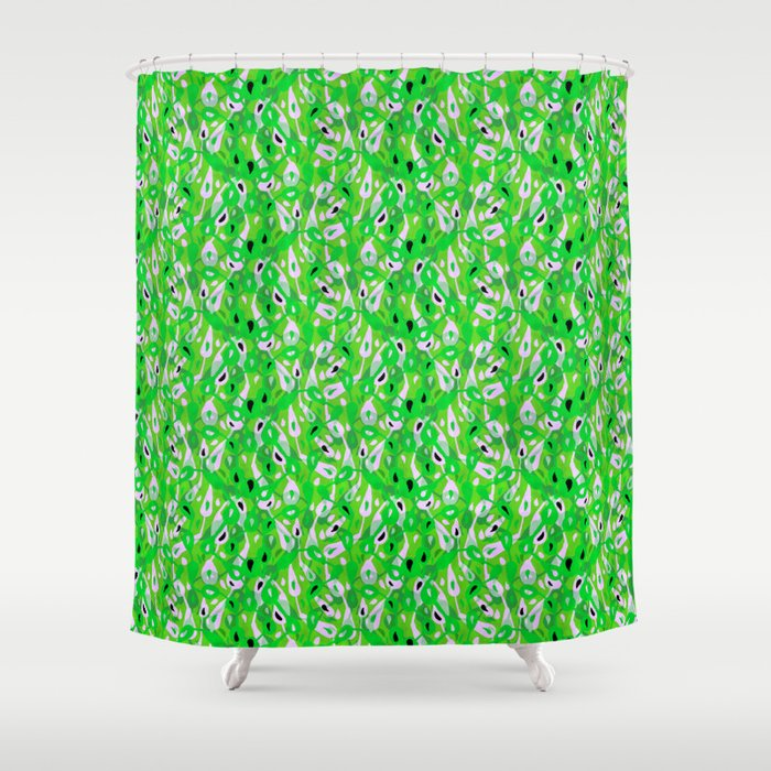 Spring Leaf Meadow Bright Green Leaves Pattern Nature Illustration Shower Curtain