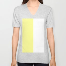 White and Pastel Yellow Vertical Halves Unisex V-Neck