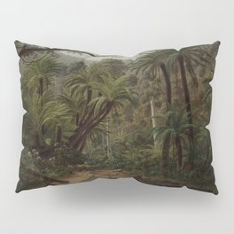 Ferntree and Palms, Tropical Gully landscape portrait by Eugene von Guerard Pillow Sham