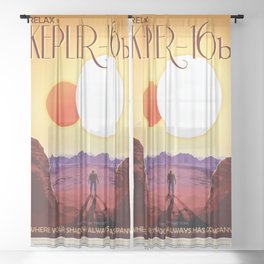 Kepler-16b - NASA Space Travel Poster Sheer Curtain