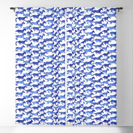 Running Watercolor Horses Pattern - Blue Blackout Curtain