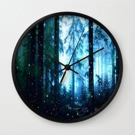 Fireflies Night Forest Wall Clock