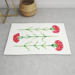 Carnations flowers watercolor art Rug