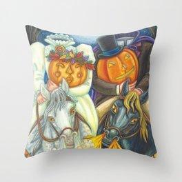 SLEEPY HOLLOW WEDDING - Brack Headless Horseman Halloween Art Throw Pillow