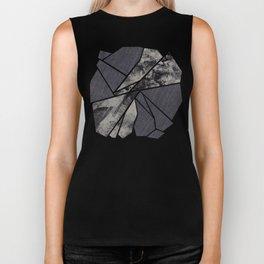 black and white flower Biker Tank