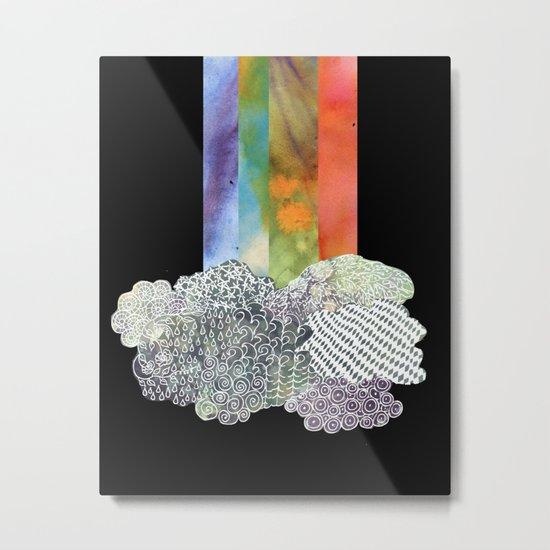 Clouds & Rainbow Metal Print