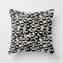 Kawaii Soot Sprites with Star Candies Throw Pillow