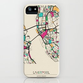 Colorful City Maps: Liverpool, England iPhone Case