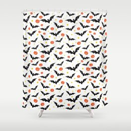 Halloween Pumpkins And Bats Shower Curtain
