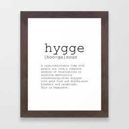 Hygge definition, romantic, dictionary art print, office decor, minimalist poster, funny Framed Art Print