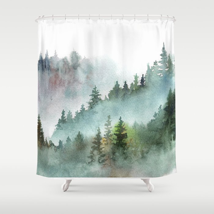 Watercolor Pine Forest Mountains in the Fog Duschvorhang