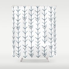 Twigs and branches freeform gray Shower Curtain
