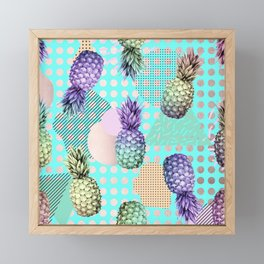 Pineapple Summer Rainbow Rose Gold Framed Mini Art Print