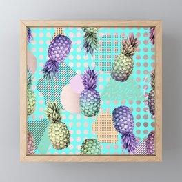 Pineapple Summer Rainbow Rose Gold Framed Mini Art Print