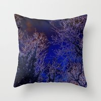 psychadelic Throw Pillows featuring Psychadelic trees frame the moon by Cheryl - DevilBear Photography