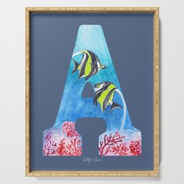 Illustrative Letter A for Angelfish Blue & Red Serving Tray