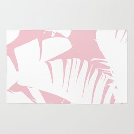 White on Pink Tropical Banana Leaves Pattern Rug