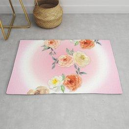 Rosy Watercolour Flower Bouquet Rug