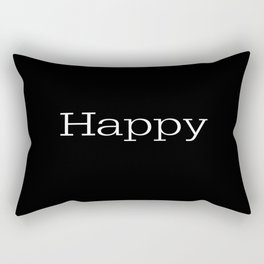 HAPPY! Black & White Rectangular Pillow