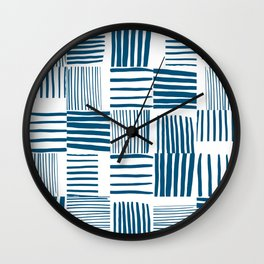 Torn Lines Abstract 03 White Blue Wall Clock